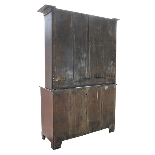 American Red Painted Two Part Cupboard For Sale - Image 9 of 10