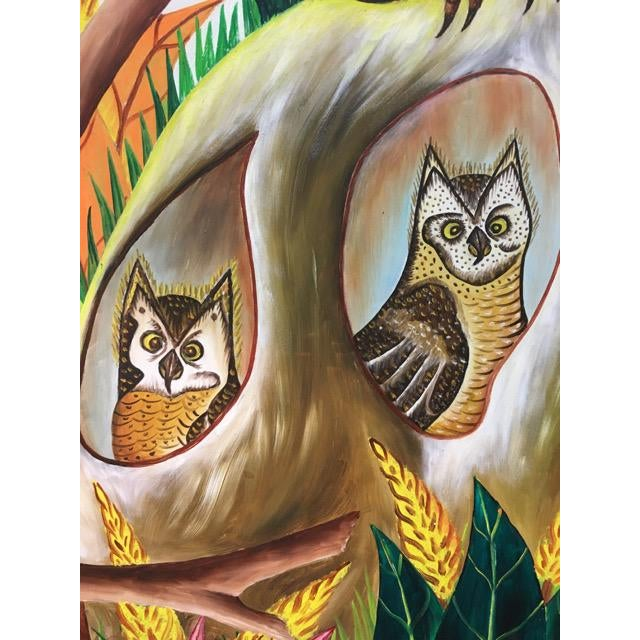 Haitian Folk Art Painter Owls Painting by Adam Leontus For Sale In Tampa - Image 6 of 11