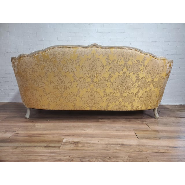 Yellow 1930s Antique Victorian French Louis XV Style Couch For Sale - Image 8 of 13
