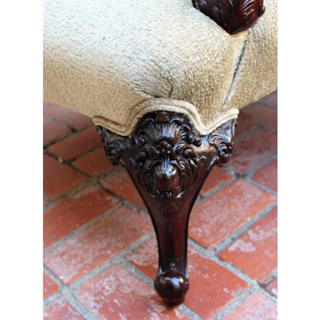 Italian Antique Italian Wingback With Ornate Floral Carving For Sale - Image 3 of 6