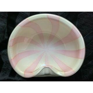 1950s Alfredo Barbini Pink and White Stripe Murano Cased Glass Bowl With Gold Flecks Preview