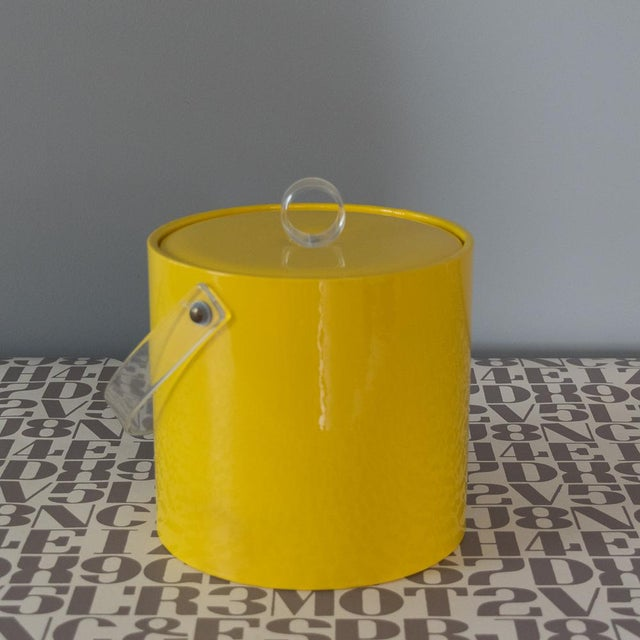 Retro Vinyl Yellow Ice Bucket For Sale - Image 6 of 9
