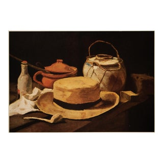 """Rare 1950s Vincent Van Gogh """"Still Life: Hat and Pipe"""", Impressionist First Edition Lithograph For Sale"""