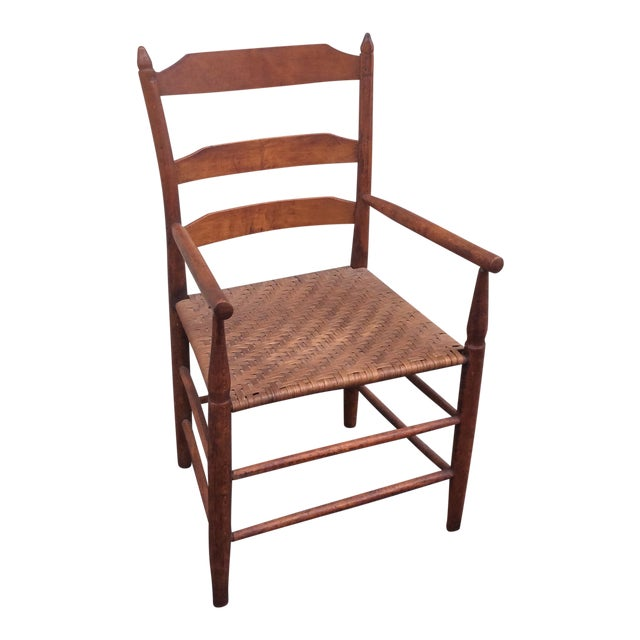 Early 19th Century Antique New England Ladder Back Arm Chair For Sale