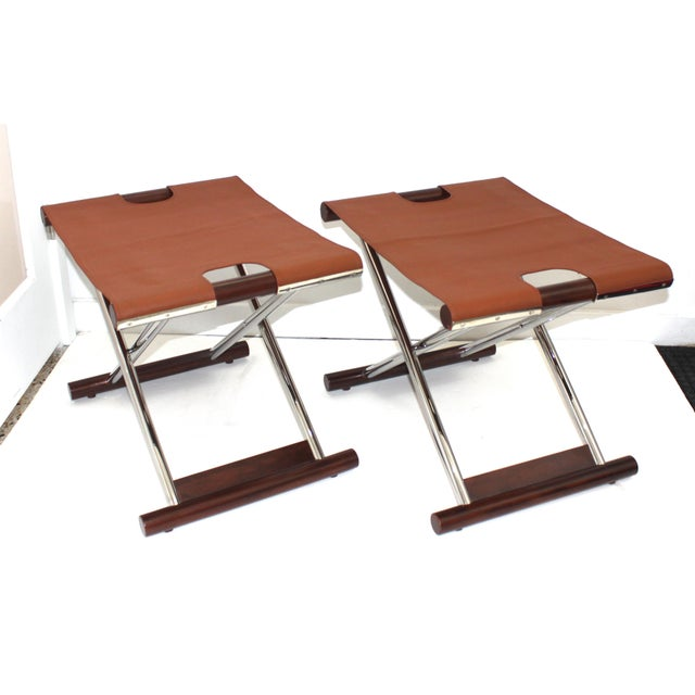 Vintage Folding X-Sling Stools in Leather, Stainless Steel and Mahogany a Pair For Sale - Image 13 of 13