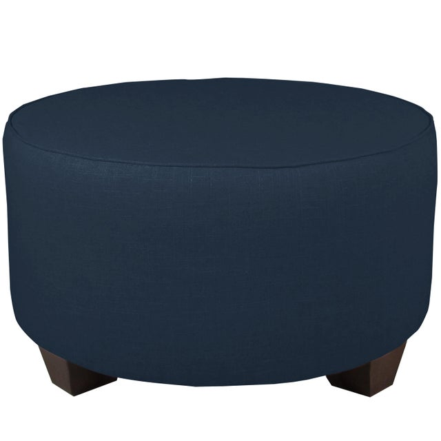 Contemporary Linen Navy Round Cocktail Ottoman For Sale - Image 3 of 5