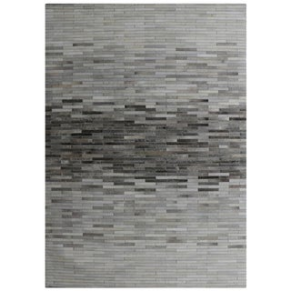 Hand-Loomed Silver Cowhide Area Rug - 5' X 8' For Sale