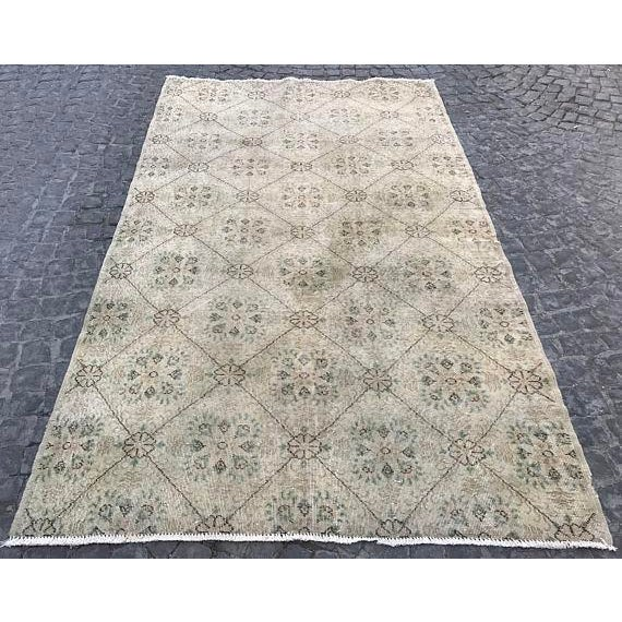 Handwoven Vintage Area Rug - 5′6″ × 9′1″ For Sale In Austin - Image 6 of 6