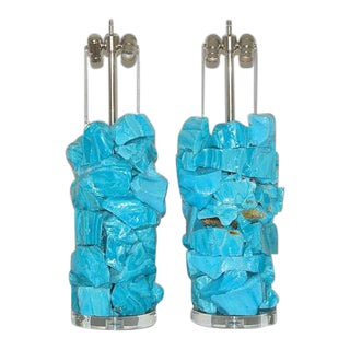 Glass Rock Table Lamps by Swank Lighting Blue For Sale