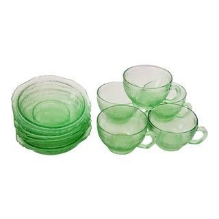 Vintage 1930's Vaseline Uranium Depression Glass Federal Madrid Green Bowls and Cups - 10 Piece Set For Sale