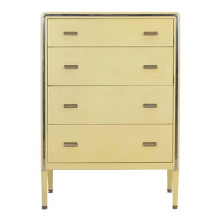 Circa 1930s Art Deco Yellow Enamel Chest of Drawers Dresser by Norman Bel Geddes For Sale