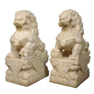 1900s Chinese Antique Carved Marble Stone Lion/Foo Dog Statues - a Pair