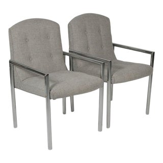 Midcentury Chrome and Gray Fabric Upholstered Armchairs - A Pair For Sale
