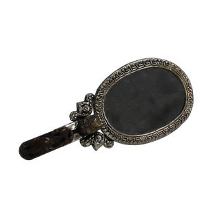 Chinese Stone Pixiu Carving Pewter Hand-Held Accent Mirror For Sale