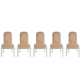 1970s Hill Manufacturing Co. Lucite and Alcantara Dining Chairs - Set of 5 For Sale