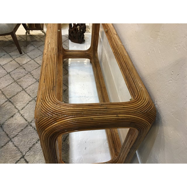 1970s Gabriella Crespi Style Split Reed Console For Sale - Image 5 of 9
