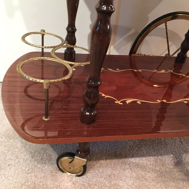 Genuine Italian Marquetry Drop Leaf Beverage Cart - Image 4 of 11