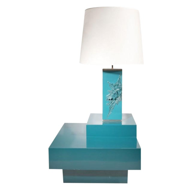 Maison Charles, Lacquered Corner Table and Lamp, France, 1960s For Sale