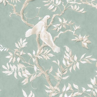 "Lewis & Wood Doves Aquamarine Extra Wide 51"" Botanic Style Wallpaper For Sale"