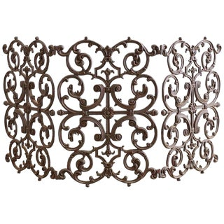 French Louis XV Style Iron Fireplace Screen For Sale