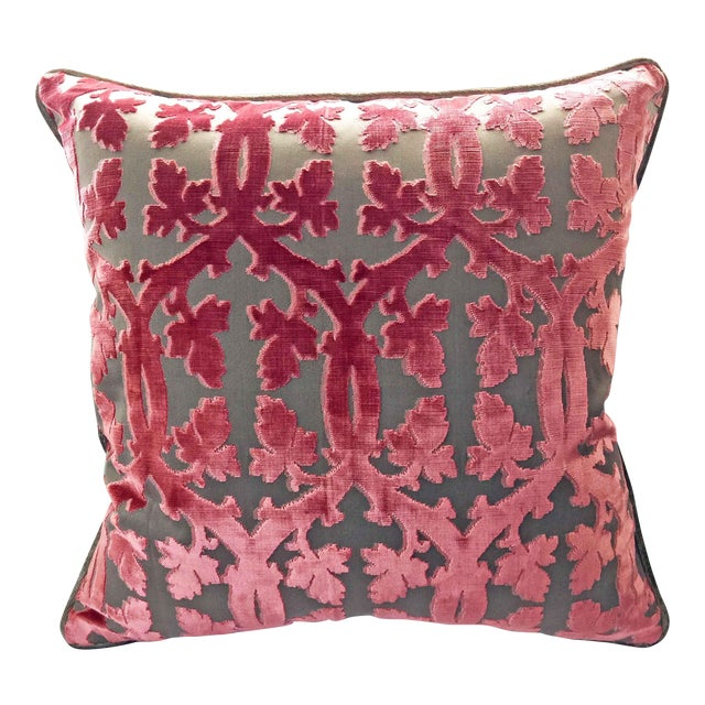 Scalamandre Falk Manor House Cut Velvet Pillow - Rose On Taupe For Sale