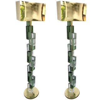Contemporary Floor Lamps Cubic Murano Glass and Brass, Italy For Sale