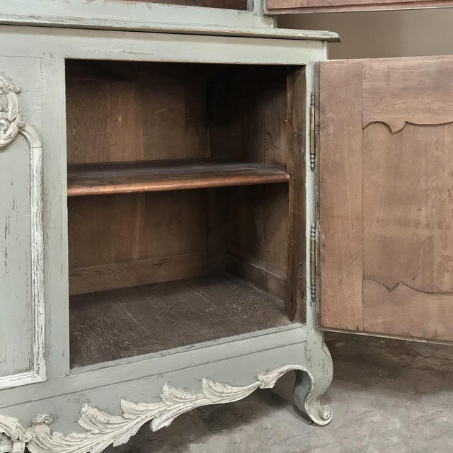 18th Century Country French Painted Provincial Buffet a Deux Corps For Sale - Image 10 of 13