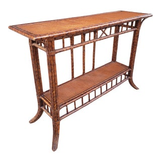 Vintage Faux Bamboo and Grass Cloth Top Console Table For Sale