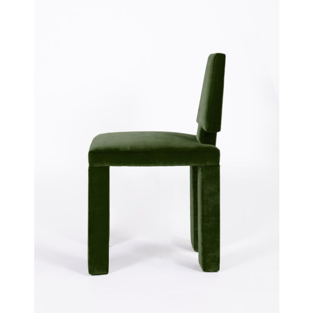 2020s Contemporary Dining Chairs in Moss Cotton Velvet - Set of 6 For Sale - Image 5 of 6