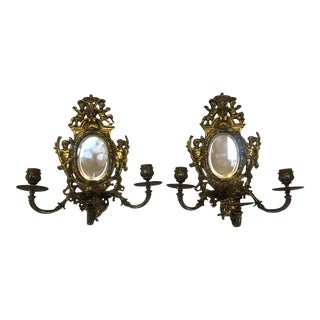 Antique English Mirrored Sconces-a Pair For Sale