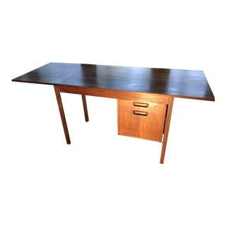 1970s Danish Modern Rosewood Writing Desk with Drop Leaf Extension For Sale