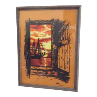 Framed Fiber Art Surf Shack Sailboat Beach Scene For Sale
