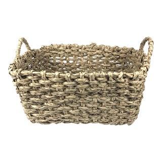 Large Boho Woven Magazine Basket For Sale