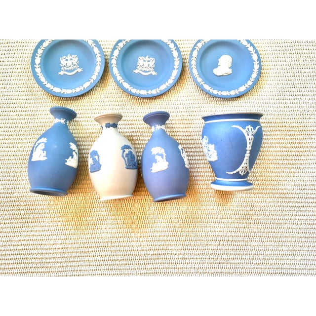 Ceramic Tabletop Collection of Blue Wedgwood Jasperware - Set of 9 For Sale - Image 7 of 9