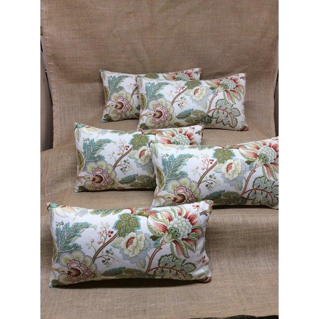 Textile Contemporary Floral Linen Pillow For Sale - Image 7 of 8