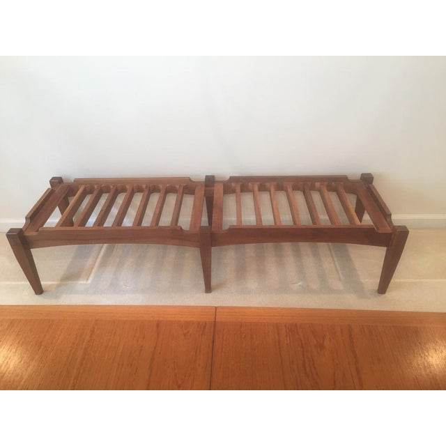 Mid-Century Modern Mid-Century Modern Solid Walnut Bench For Sale - Image 3 of 6