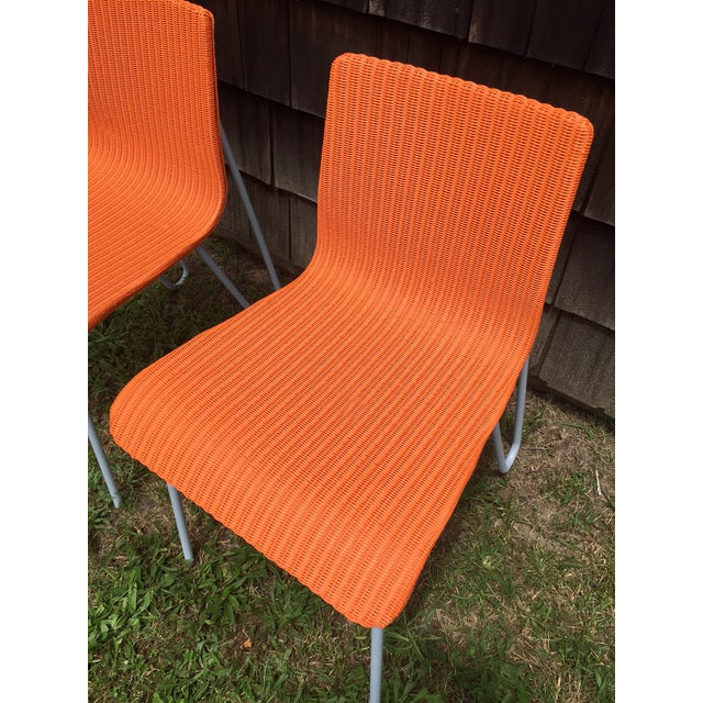 Orange Wicker & Metal Dining Chairs - Set of 8 - Image 7 of 7