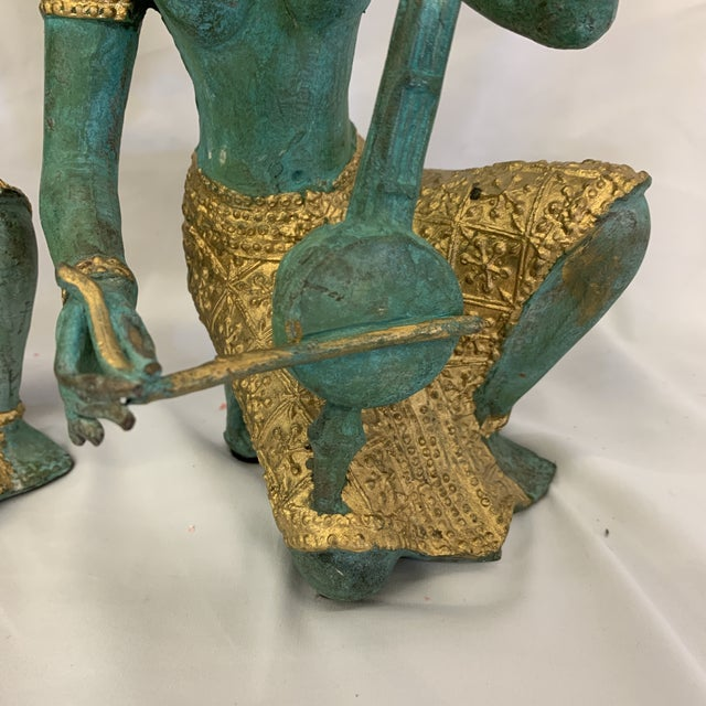 Bronze Thai Musicians Statues - a Pair For Sale In Richmond - Image 6 of 11