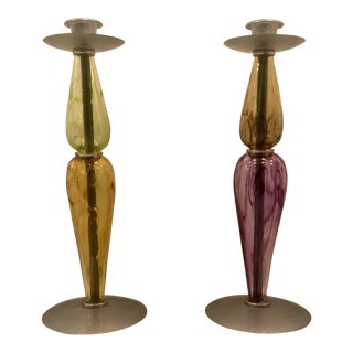 2000s Colorful Studio Art Glass Candleholders - a Pair For Sale