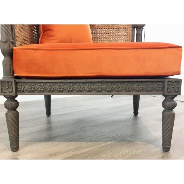 French Style Cane Back Orange Velvet Corner Chair For Sale - Image 4 of 7