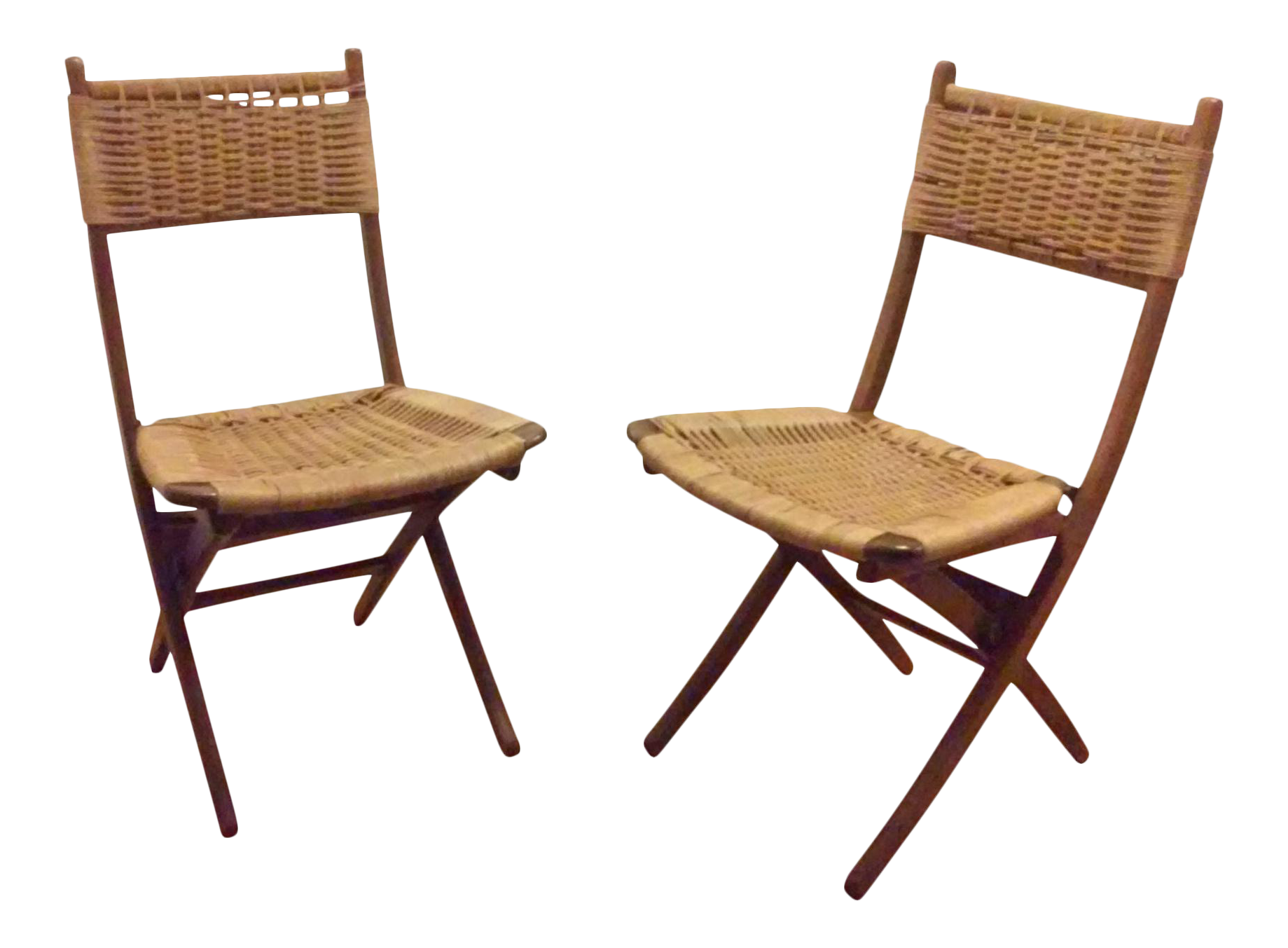 Mid Century Modern Hans Wegner Style Folding Chairs   A Pair