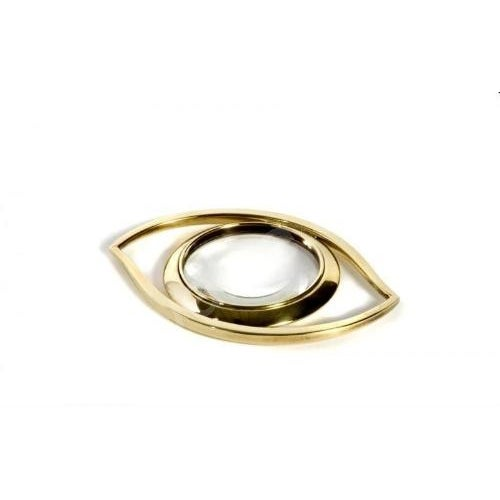 Luxe 'Evil Eye' Brass Magnifying Glass Paperweight - Image 3 of 3