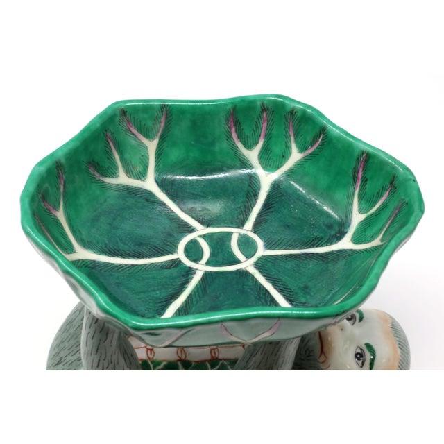 Ceramic Vintage Ceramic Monkey Holding a Leaf Dish For Sale - Image 7 of 11