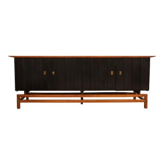 Mid-Century Modern Two-Toned Buffet With Unique Brass Hardware For Sale