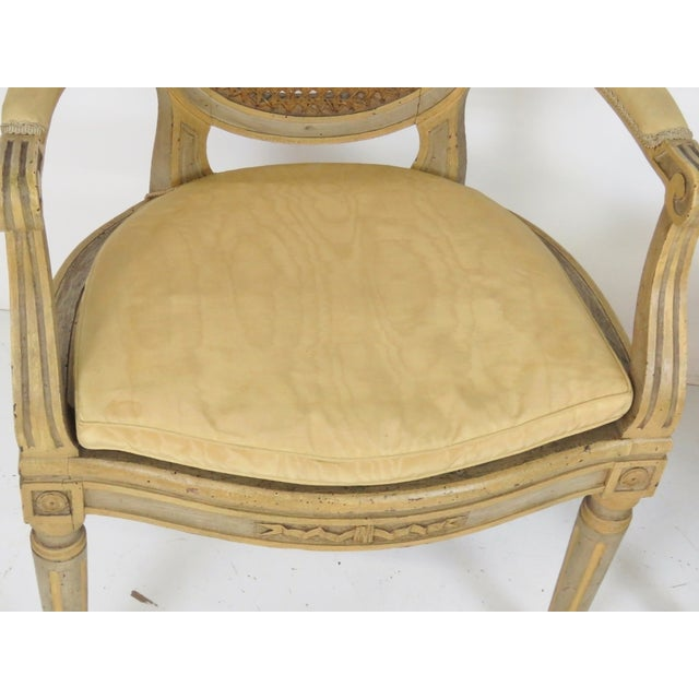 Antique Louis XVI Style Caned Fauteuils - Pair - Image 4 of 7