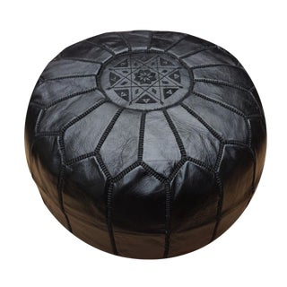 Moroccan Handmade Black Leather Pouf For Sale