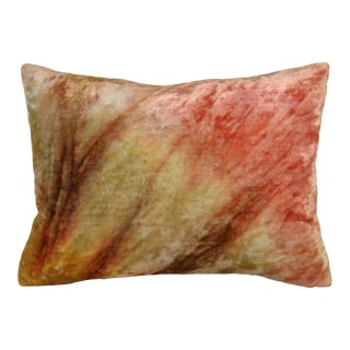 Autumnal Antique Tie-Dyed Silk Velvet Lumbar Pillow Cover For Sale