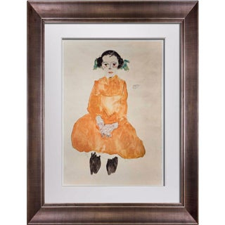 """Modern Egon Schiele Lithograph """"Girl in a Yellow Dress"""" W/Frame For Sale"""