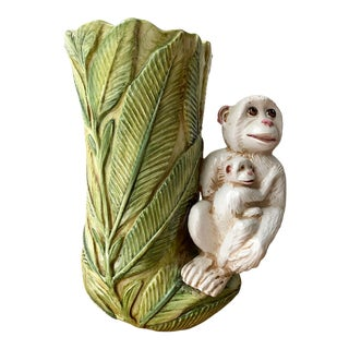 Mid Century Italian Monkey With Palm Leaves Vase For Sale