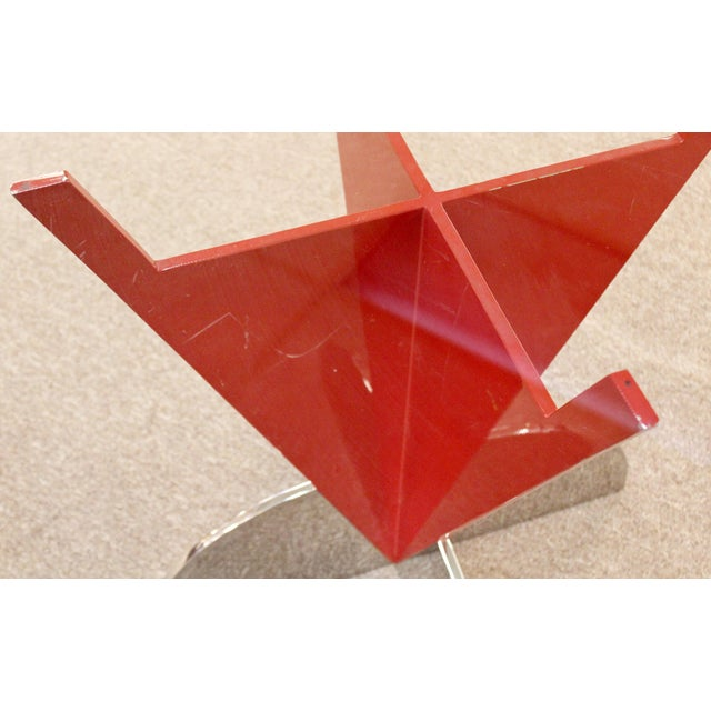 Contemporary Modern Memphis Ettore Sotsass Style Red Iron Glass Dining Table For Sale In Detroit - Image 6 of 9